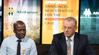 Sifiso Meyiwa and AfriForum's Advocate Gerrie Nel at the announcement of the new strategy into the case that has stalled for five years. Picture: Supplied by AfriForum