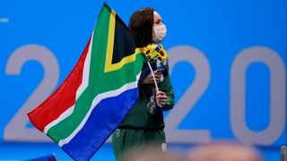 Silver medallist South Africa's Tatjana Schoenmaker poses with their medal after the final of the women's 100m breaststroke. Photo Odd Andersen/AFP