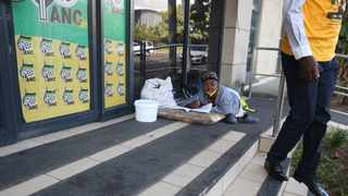 Sindisiwe Abigail Mabaso, who is disabled and uses a walking aid, has been camping outside the ANC's offices in Durban for the past two weeks. Picture: Zanele Zulu