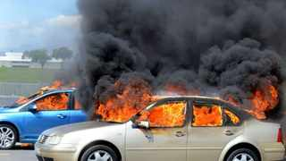 Six cars were torched at the Cape Peninsula University of Technologys Bellville campus on Monday. Picture: Phando Jikelo
