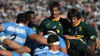Siya Kolisi, Eben Etzebeth and Franco Mostert packs down for the Springboks in a Rugby Championship match in 2018. Picture: Hernán Barrios/BackpagePix