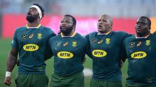 Siya Kolisi (captain), Ox Nche, Mbongeni Mbonambi and Trevor Nyakane of South Africa sing national anthem before the 2021 British and Irish Lions Tour first test between South Africa and BI Lions at Cape Town Stadium on 24 July 2021 ©Ryan Wilkisky/BackpagePix