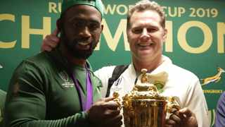 Siya Kolisi of South Africa and Rassie Erasmus, coach of South Africa during the 2019 Springboks Arrival and Press Conference at O.R. Tambo International Airport, Johannesburg, on 5 November 2019 ©Samuel Shivambu/BackpagePix