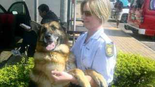 Slain police dog Bruno, a 6-year-old German shepherd, and his handler, Constable Bianca Cantello, of the Pietermaritzburg K9 unit.