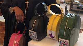 Some of Carol Bouwer's bags inspired by Esther Mahlangu on display at the soirée to promote women artists.