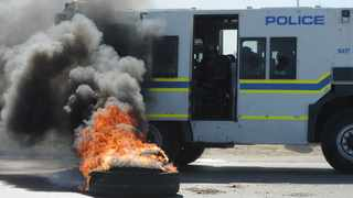 South Africa - Cape Town - 23 March 2021 - One person has been knocked down and killed, and four police officers were injured in Kraaifontein this morning, where police are on the scene attempting to quell violent protest. Photographer: Armand Hough/African News Agency(ANA)