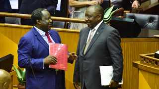 South Africa Finance Minister Tito Mboweni and President Cyril Ramaphosa ahead of the 2019 Budget in Parliament on Wednesday. PHOTO: GCIS