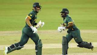 South Africa captain Temba Bavuma and teammate Aiden Markram run between the wickets during the first one-day international against Sri Lanka at the R. Premadasa Stadium in Colombo on Thursday. Photo: Ishara S. Kodidara/AFP