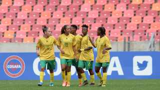 South Africa players celebrate a goal scored by Melinda Kgadiete during their Cosafa Womens Championship Group A game against Malawi at Nelson Mandela Bay Stadium in Gqeberha on Wednesday. Photo: Ryan Wilkisky/BackpagePix