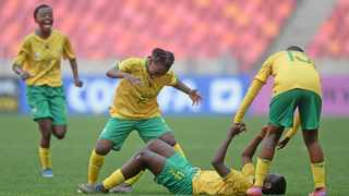 South Africa players celebrate a goal scored by Sibulele Holweni during their COSAFA Womens Championship semi-final game against Malawi at Nelson Mandela Bay Stadium in Gqeberha on Thursday. Photo: Ryan Wilkisky/BackpagePix