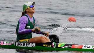 South Africa's Bridgitte Hartley reacts after winning a women's kayak single 500m semifinal in Eton Dorney, near Windsor, England, at the 2012 Summer Olympics, Tuesday, Aug. 7, 2012. (AP Photo/Armando Franca)