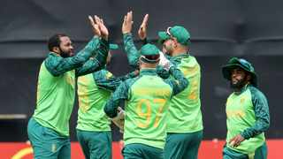 South Africa's David Miller celebrates with team mates during the third ODI against Ireland. Photo: Bryan Keane/INPHO/Shutterstock