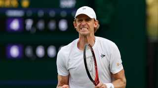 South Africa's Kevin Anderson reacts while playing Chile's Marcelo Tomas Barrios Vera in his opening Wimbledon match. Photo: Adrian Dennis/AFP