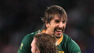South Africa's RG Snyman (centre) and Eben Etzebeth celebrate at the end of the game during the 2019 Rugby World Cup Pool B match at Shizuoka Stadium Ecopa, Shizuoka Prefecturey.Photo: BackPagePix