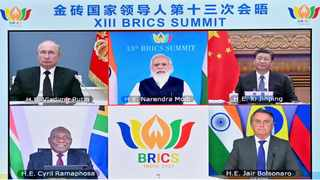 South African President Cyril Ramaphosa, Brazilian President Jair Bolsonaro and Russian President Vladimir Putin attended the summit as Indian Prime Minister Narendra Modi presided over it. (Xinhua/Yue Yuewei)