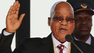 South African President Jacob Zuma takes his oath of office during his inauguration ceremony at the Union Buildings.