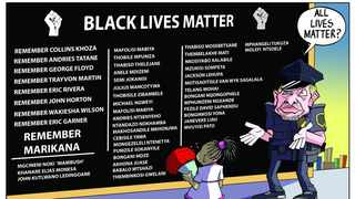 South Africans have been slow to condemn the killing of Collins Khosa, Petrus Miggles, Sibusiso Amos and Adane Emmanuel among others. Cartoon: Bethuel Mangena/African News Agency(ANA)