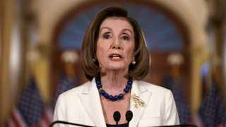 Speaker of the House Nancy Pelosi, D-Calif., makes a statement at the Capitol in Washington. Picture: J. Scott Applewhite/AP
