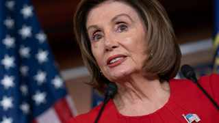 Speaker of the House Nancy Pelosi talks to reporters after the first public hearing in the impeachment probe of President Donald Trump. Picture: AP Photo/J. Scott Applewhite