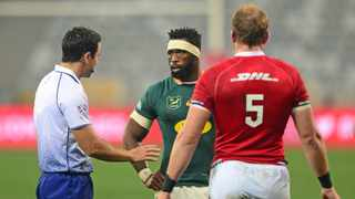 Springbok captain Siya Kolisi and Lions captain Alun Wyn Jones chat to the referee during the second Test. Photo: Ryan Wilkisky/BackpagePix