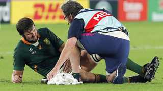 Springbok lock Lood de Jager reportedly broke his leg in a freak training ground incident at Sale Sharks. Picture: Mark R. Cristiano/EPA