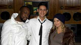 Steven Lee Lewis with Wyclef Jean and Fergie in New York. Picture: Supplied