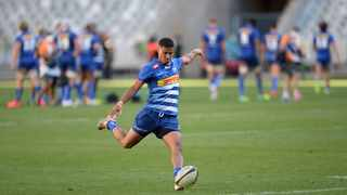 Stormers flyhalf Abner van Reenen kicks for poles during their Rainbow Cup SA game against the Sharks at Cape Town Stadium last weekend. Photo: Ryan Wilkisky/BackpagePix