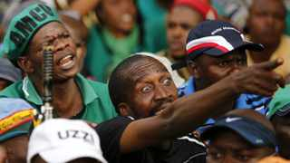 Striking miners gather in Johannesburg to hear an update from Amcu president Joseph Mathunjwa on March 27, 2014. File picture: Reuters
