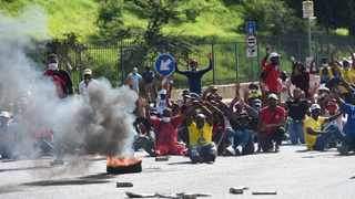 Students burn tyres along Empire Road, students are protesting over financial exclusion at the campus. Picture: Itumeleng English/African News Agency(ANA)