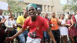 Students, unhappy over the change in certain exam venues, protested at the Durban campus of Unisa. Picture: Sandile Makhoba