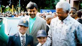 Suhayl Essa, anti-apartheid activist Professor Saths Cooper, Sameer Essa and former President Nelson Mandela at the unveiling ceremony at the Passive Resistance Park in Durban in 2002. Image supplied by Nadia Meer