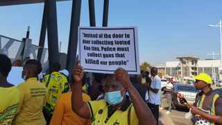 Supporters of former president Jacob Zuma picketed outside Ntuzuma Magistrate's Court yesterday demanding his release. I SUPPLIED