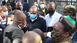 Suspended ANC secretary-general Ace Magashule arrives at court as supporters chant his name. Picture: Doctor Ngcobo/African News Agency (ANA)