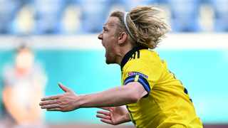 Sweden's Emil Forsberg celebrates after scoring their first goal in their Euro 2020 match against Slovakia on Friday. Photo: Kirill Kudryavtsev/Reuters