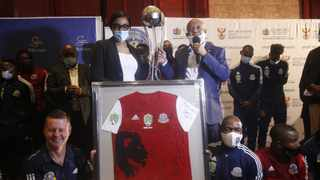 TTM management, technical team, and players, with the Nedbank Cup Trophy, during a parade in Polokwane. Picture: File