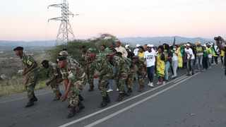 Tensions ran high when Jacob Zuma supporters and MKMVA members marching outside the former president's house in Nkandla on Friday. Some supporters hurled insults, directed at members of the media. Picture: Doctor Ngcobo/African News Agency (ANA)