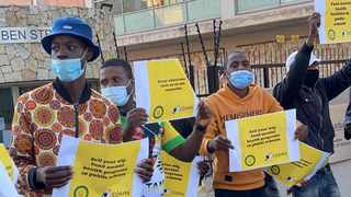 The ANC Youth League and Cosas members demonstrate outside the Department of Education in Tshwane for bullied teenager Lufuno Mavhunga who committed suicide. Picture: Goitsemang Tlhabye