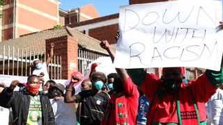 The ANC Youth League and EFF were present outside the Verulam Magistrate's Court yesterday where 10 suspects appeared in connection with the murders that took place in Phoenix amid the unrest and looting two weeks ago. Picture: Doctor Ngcobo/African News Agency(ANA)