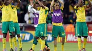 The Bafana Bafana thanks the crowd for their support.