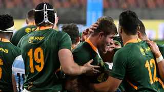 The Boks celebrateMalcolm Marx try against Argentina. Photo: Deryck Foster/BackpagePix