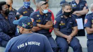 The City's firefighters protested against a looming mass disciplinary hearing of more than 500 firefighters who are facing charges of misconduct by the City. Photographer: Armand Hough/African News Agency (ANA)