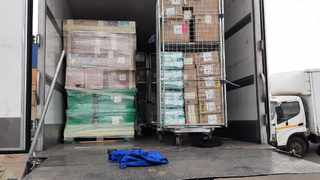 The Dis-Chem merchandise in the truck that was hijacked in Midrand. Picture: JMPD
