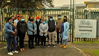 The EFF delegation and Communicare officials at the Goedehoop complex. Picture supplied