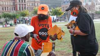 The Good Party's Patricia de Lille and Tshwane's mayoral candidate Sarah Mabotsa on Curch Square. Picture: Jacques Naude/African News Agency (ANA)