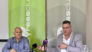 The Justice Project SA spokesperso,  Howard Dembovsky and Automobile Association of SA spokesperson Layton Beard during a media about the Administrative Adjudication of Road Traffic Offences (Aarto) Amendment Bill, held in Centurion. Picture: Thobile Mathonsi/African News Agency(ANA)