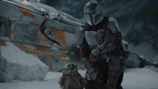The Mandalorian (Pedro Pascal) and the Child in 'The Mandalorian', season two. Picture: Lucasfilm