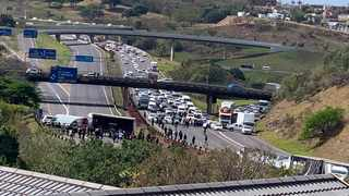 The N3 east and westbound carriageways were blocked off to traffic during a protest by Durban artists, calling for an end to lockdown due to the impact it is having on their livelihoods. Picture: Supplied