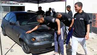 The OddJobbi team washing a car in Bonteheuwel. Shuaib Sayhn started a maintenance business to empower the youth in his community. The business is called OddJobbi. BRENDAN MAGAAR African News Agency (ANA)