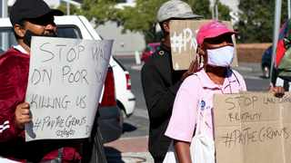 The PayTheGrants Campaign held a protest that was against the termination of the Covid SRD grant. Picture: Leon Lestrade/African News Agency/ANA.