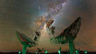 The South African Radio Astronomy Observatory MeerKAT cluster. Photo supplied by SKAO